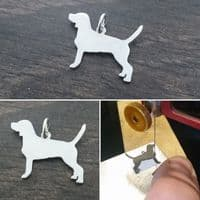 Beagle dog Charm silhouette solid sterling silver Handmade in the Uk